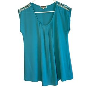 Pleione Anthropology Turquoise Top with Boho Trim